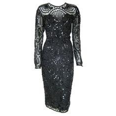 Vintage Black Art Deco Style Illusion sequin Party Coctail Dress- long sleeves