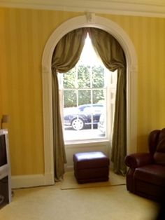 Italian Strung Curtains in arched window