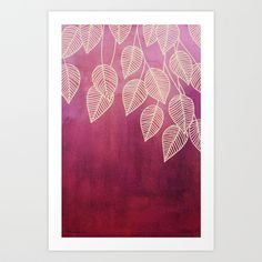 Magenta Garden - watercolor & ink leaves Art Print by Micklyn | Society6
