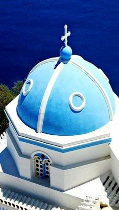 Orthodox Cross Tops the Dome of a Greek Orthodox Church in Astypalaia Island, Greece Places Around The World, Oh The Places You'll Go, Places To Travel, Around The Worlds, Mykonos, Santorini, Albania, Bulgaria, Wonderful Places