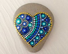 Small Heart Dot Art Mandala Painted Stone Fairy Garden Gift Decoration Painted rock Beachstone