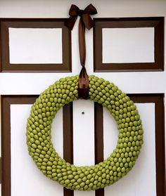 spray painted acorn wreath