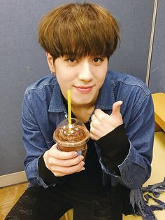 Yugyeom and his favorite chocolate drink...