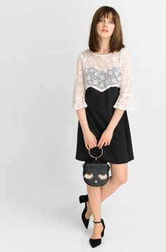 7a36cbf09a Csipké bi-color ruha   ORSAY Bell Sleeves, Bell Sleeve Top, Classy Evening