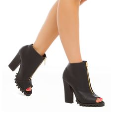 Tally - ShoeDazzle A treaded sole keeps this peep-toe bootie by MICHAEL ANTONIO on trend with its front zip and casual block heel.