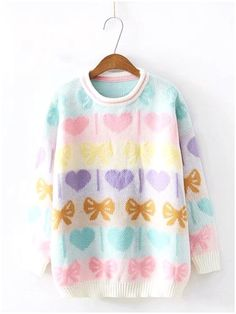 Super kawaii and comfy heart and bow sweater Size: Length bust Sleeve length Fit: Loose Material: Wool/ acrylic blend Please allow weeks shipping - BlissGirl - Fashion - Harajuku - Kawaii - Punk - Pastel - Goth - Retro - Festival ❤️ Harajuku Fashion, Kawaii Fashion, Pastel Party, Pastel Outfit, Pastel Fashion, Japanese Street Fashion, Soft Grunge, Pastel Goth, Alternative Fashion