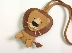 Tony the Lion leather charm with leather strap  от leatherprince, $25.90