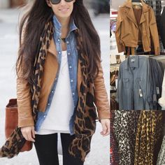 """""""Easy way to remix fall essentials for an effortless cool look... @tjmaxx faux leather jacket, $29.99 + @oldnavy denim shirt + @oldnavy leopard scarf…"""""""