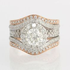 Diamond Wedding Set 1.50ct EGL Diamond Engagement Ring - 14k White Rose Gold 2.33ctw Accents on Etsy, $5,999.99