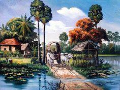 คลังรูป ภ.ภาพวาด: วิถีชีวิตชาวบ้าน Watercolor Art Landscape, Landscape Paintings, Watercolor Paintings, Painting Art, Village Scene Drawing, Art Village, Lotus Flower Wallpaper, Cambodian Art, Acrylic Painting Flowers