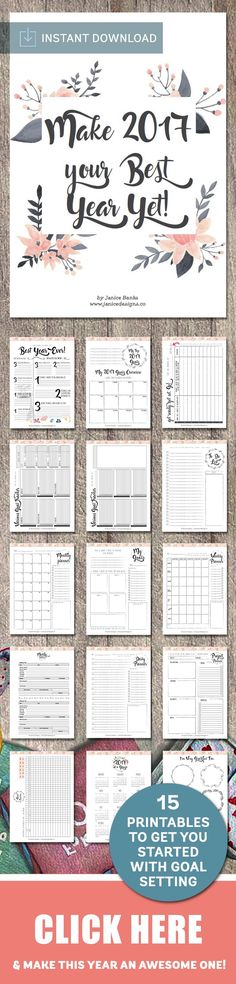The Make 2017 Your Best Year Yet Collection includes 15 printables designed to help you with goal setting, project management, planning, budgeting, and more.