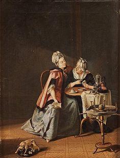 PEHR HILLESTRÖM, Interiör med ung dam och gumma som spår i kaffesump, från Näs Herrgård. Utförd ca 1775. Duk 38,5 x 30 cm. Samtida förgylld och bronserad ram. 9752754 bukobject