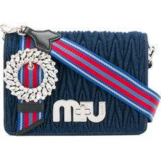 Miu Miu My Miu denim shoulder bag (104,110 INR) ❤ liked on Polyvore featuring bags, handbags, shoulder bags, blue, shoulder hand bags, striped shoulder bag, denim shoulder bag, stripe purse and blue handbags
