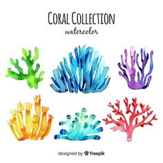 Discover thousands of copyright-free vectors. Graphic resources for personal and commercial use. Thousands of new files uploaded daily. Coral Watercolor, Watercolor Leaves, Watercolor Design, Watercolor Background, Watercolour, Watercolor Painting Techniques, Diy Painting, Coral Tattoo, Coral Reef Art