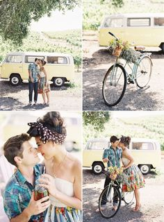 This makes me want to hunt down a VW van, an old bike and go to town- ADORABLE engagement session!