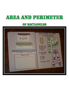 Perimeter and Area Activity for Interactive Notebook These pages include: *rectangle perimeter and area formulas reminders for notebook *grid foldables for comparing rectangles with the same area but different perimeters *reflective writing prompt Math Teacher, Math Classroom, Teaching Math, Maths, Classroom Ideas, Teaching Tools, Teacher Stuff, Teaching Ideas, Interactive Student Notebooks