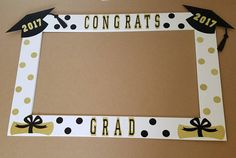 Graduation Poster Ideas Discover Your place to buy and sell all things handmade Black and Gold Graduation Frame great as a photo booth prop or a decoration! by ItsTwinkleTime on Etsy College Graduation Parties, Graduation Celebration, Graduation Decorations, Graduation Party Decor, Graduation Gifts, Graduation Ideas, Graduation Centerpiece, Graduation Picture Frames, Graduation Photos