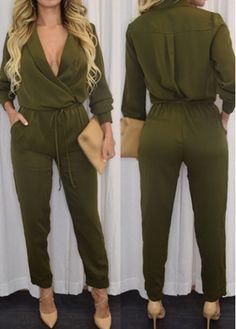 Army Green Drawstring Waist Harlan Jumpsuit