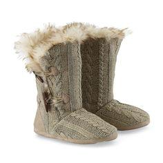 JC Penny - Bongo Junior's Faux Fur Trim Knit Toggle Boot Slipper