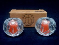 Vintage American Fostoria Crystal Cubed Fairy Lamp Candle