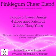 Pinklegum Cheer essential oil diffuser blend - Smells like bubble gum - sweet orange patchouli ylang ylang