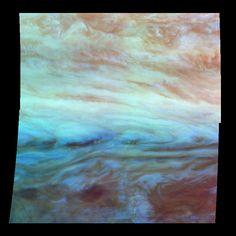False Color Mosaic of Jupiter's Belt-Zone Boundary (NASA Galileo Jupiter Mission Image)