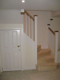 A double turn six winder staircase leading down into a basement. Timber Staircase, House Staircase, Loft Stairs, Staircase Design, Hallway Designs, Hallway Ideas, Loft Conversion Stairs, Winder Stairs, Cottage Stairs