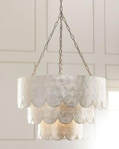 H8HDX Three-Tiered Scalloped Capiz 3-Light Pendant