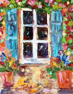 Original oil painting Italy Window with Flowers palette knife modern texture fine art impressionism by Karen Tarlton