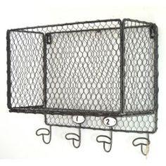 etag re murale de cuisine ou salle de bain en fer m tal grillag e avec 5 crochets pat res porte. Black Bedroom Furniture Sets. Home Design Ideas