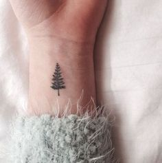 In love with this tiny evergreen tattoo.