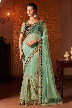 Green #Net #Saree With #Velvet Blouse  http://www.andaazfashion.fr/womens/sarees/green-net-saree-with-velvet-blouse-dmv8445-23818.html