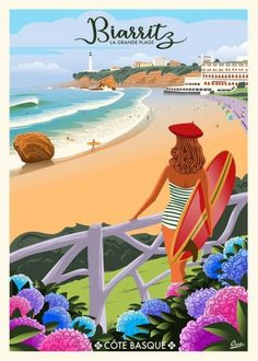Vintage Beach Posters, Surf Vintage, Mouse Illustration, Beach Illustration, Poster Surf, Forest Poster, Surf Drawing, Poster Design, Biarritz