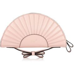 Redvalentino Fan Shape Clutch Bag (600 CAD) ❤ liked on Polyvore featuring bags, handbags, clutches, purses, nude, hand bags, pink leather handbag, structured handbag, pink handbags and bow purse