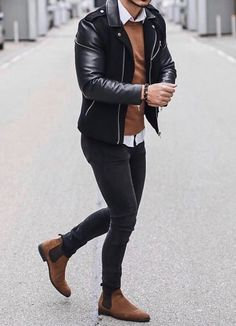 Winter Outfits Men, Stylish Mens Outfits, Casual Outfits, Summer Outfits, Outfit Winter, Cool Jackets For Men, Black Outfit Men, Mode Man, Leather Jacket Outfits
