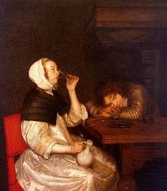 Gerard ter Borch - Drinkende vrouw en slapende soldaat
