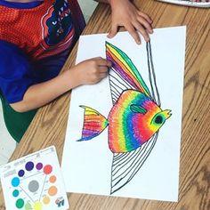 #1stgrade #rainbow #fish #analogous #colorwheel #oilpastel #kidsarthub #startingtofeellikesummer #art #artist #elementary #school #teacher #artteacher #artroom #fun #painting #create #talent #teacherlife #momlife #tiredasamother #teachersfollowteachers #paintedpaper