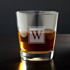 Cheers! To good health! Salut! Whatever your toast may be, whiskey is best enjoyed with friends, and the best way to serve them their drinks is with our block monogram personalized whiskey glass. Holding...