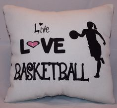 I should get this pillow for my older sister, Brooke. My main sport is soccer, but her's is definitely basketball. She's an amazing point guard and she play like no one I've ever seen. Basketball Bedroom, Basketball Party, Basketball Is Life, Basketball Quotes, Basketball Players, Soccer Ball, Basketball Wives, Basketball Stuff, Basketball Decorations
