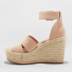 e57f0a53f82 Women s Caroline Wide Width Microsuede Ankle Strap Espadrille Wedge - Universal  Thread Blush 9.5W
