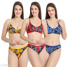 Lingerie Sets Comfy Women's Cotton Lingerie Set (Pack Of 3) Fabric: Cotton Sleeves: Sleeves Are Not Included Size: 30B: Cup Size - Underbust - 25 in To 26 in Overbust - 31 in To 32 in Waist - 28 in Hip - 34 in 32B: Cup Size - Underbust - 27 in To 28 in Overbust - 33 in To 34 in Waist - 31 in Hip - 36 in 34B: Cup Size - Underbust - 29 in To 30 in Overbust - 35 in To 36 in Waist - 33 in Hip - 38 in 36B: Cup Size - Underbust - 31 in To 32 in Overbust - 37 in To 38 in Waist - 37 in Hip - 40 in Type: Stitched Description: It Has 3 Pieces Of Bras & 3 Pieces of Panties Work: Printed Country of Origin: India Sizes Available: 30C, 32C, 34C, 36C, 30D, 32D, 34D, 36D, 30E, 32E, 34E, 30A, 36E, 32A, 34A, 36A, S, M, L, XL, 30B, 32B, 34B, 36B   Catalog Rating: ★4 (4440)  Catalog Name: Trendy Women'S Cotton Lingerie Set Vol 4 CatalogID_454073 C76-SC1043 Code: 562-3285684-