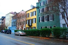 Rainbow Row in Charleston, South Carolina. A beautiful collection of brightly colored houses.