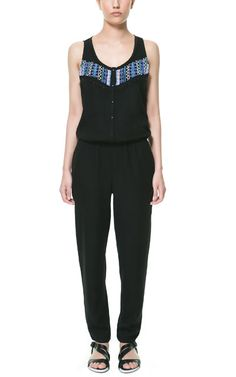 LONG JUMPSUIT WITH BEADING AT THE FRONT from Zara
