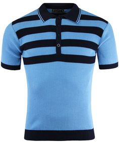 Terry Retro 60s Mod Ribbed Polo Shirt With Chest Stripes SKY from Madcap England