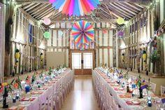 beautiful fun colourful party decorstions at the garden barn  suffolk
