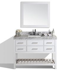 "48"" Laguna White Single Modern Bathroom Vanity with White Marble Top and Undermount Sink #BathroomRemodel #BlondyBathHome #BathroomVanity  #ModernVanity"