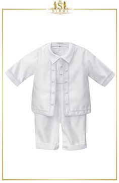 Make your baby's special day one to remember with this gorgeous baby boys 4pc white christening suit. Designed by Romano Vianni, this outfit includes jacket, shirt, trousers and matching cute little bonnet. Shop now at SIRRI kids #childrens suits #boys 3 piece suit #kids wedding suits #boys communion suits