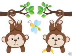 Hanging monkey mural decal wall art for baby girl jungle animal nursery or children's safari zoo room decor. Two girl monkeys hanging from flowered branches Monkey Nursery, Girl Nursery, Nursery Room, Jungle Nursery, Monkey Room, Room Baby, Bedroom Kids, Animal Nursery, Kids Room Wall Art