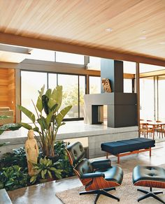 Gorgeous design and I really love the indoor garden space---livinghomes living room fireplace