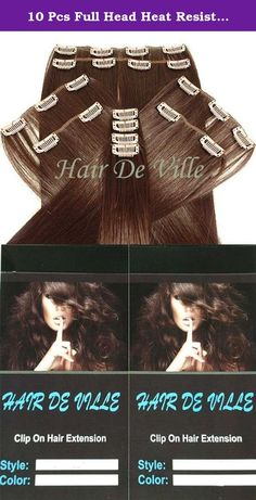 10 Pcs Full Head Heat Resistant Synthetic Clip In Hair Extensions Long 22 Inches 135 g Color #33 Auburn. Hair De Ville Hair Extension is a new technology in synthetic clip in hair extension, thermofibre hair that can be straightened and curled to a temperature of 180c. Increase hair length and fullness with these beautiful salon style hair wefts in second .You can also cut, blown dry or wash this type of hair and it is designed to look and feel just like human hair. This hair is really…